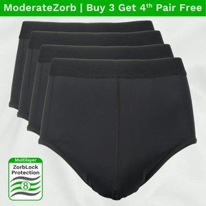 Mens Absorbent Underwear Moderate Incontinency 4pk